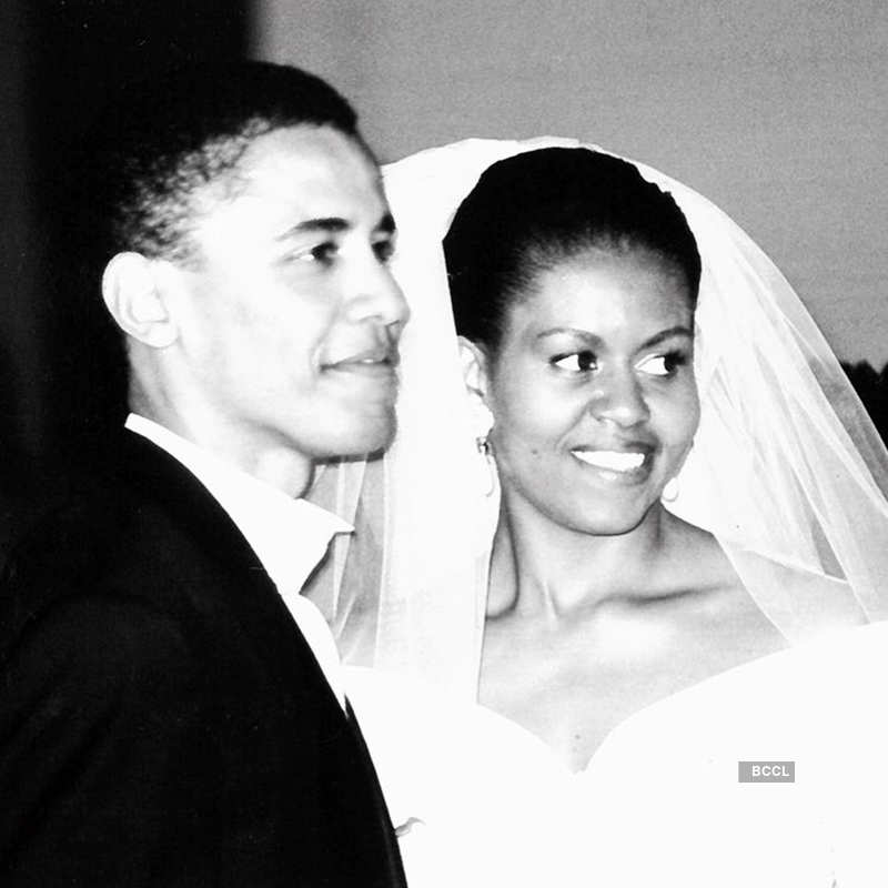 Rare wedding pictures of Barack and Michelle Obama on their 27th anniversary