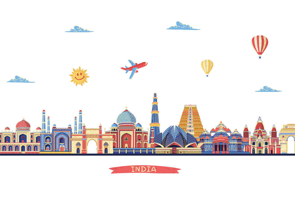 India travel famous landmarks and tourist culture symbols. Clipart |  k52787421 | Fotosearch