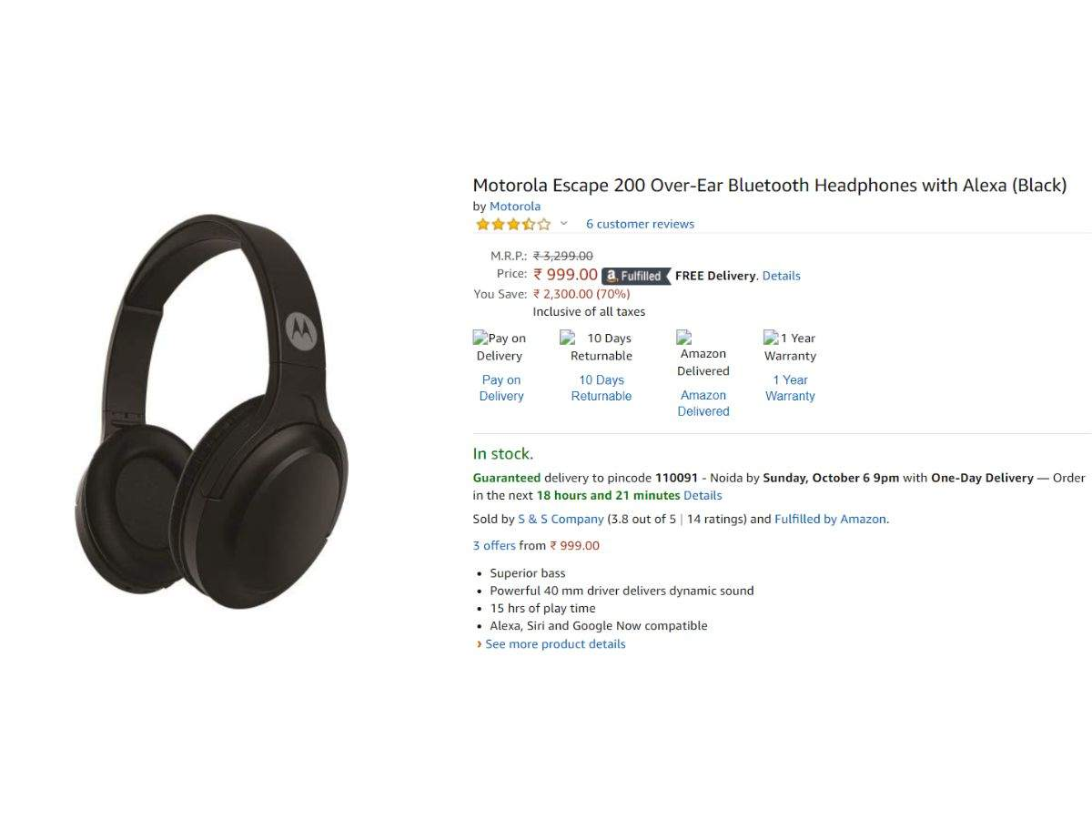 Motorola Escape 200 Over Ear Bluetooth Headphones Available At Rs 999 Original Price Rs 3 299 Gadgets Now