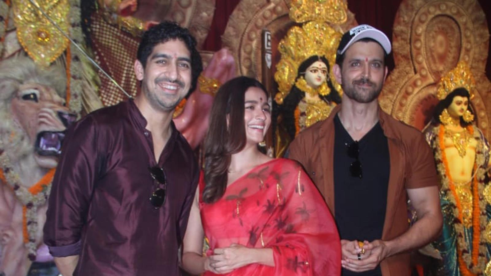 Alia Bhatt, Hrithik Roshan and Ayan Mukerji hop to Durga Pandal