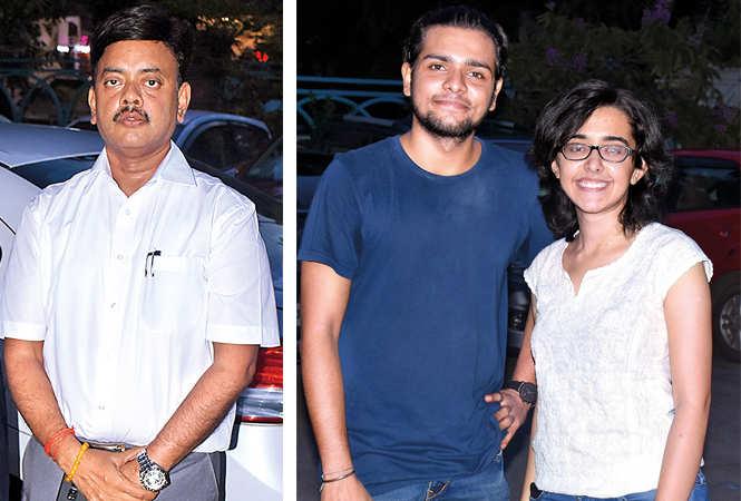 (L) Jitendra Kumar (R) Devang Tewari and Nikita Tandon (BCCL/ Vishnu Jaiswal)