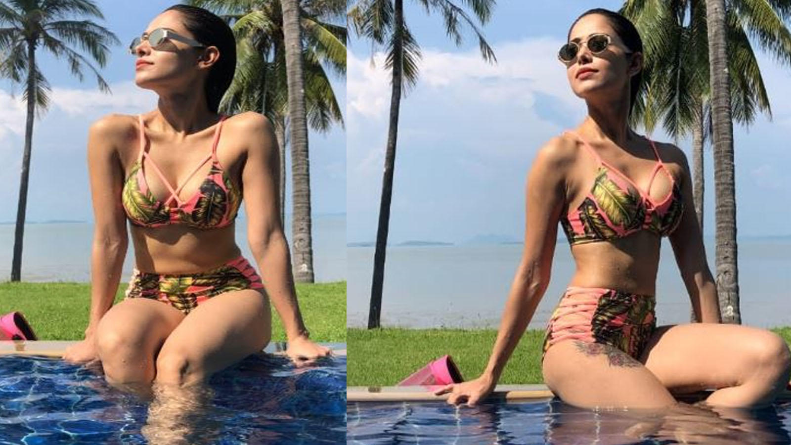 Hotness Alert! Nushrat Bharucha's latest photographs in green and pink bikini are turning up the heat in cyberspace