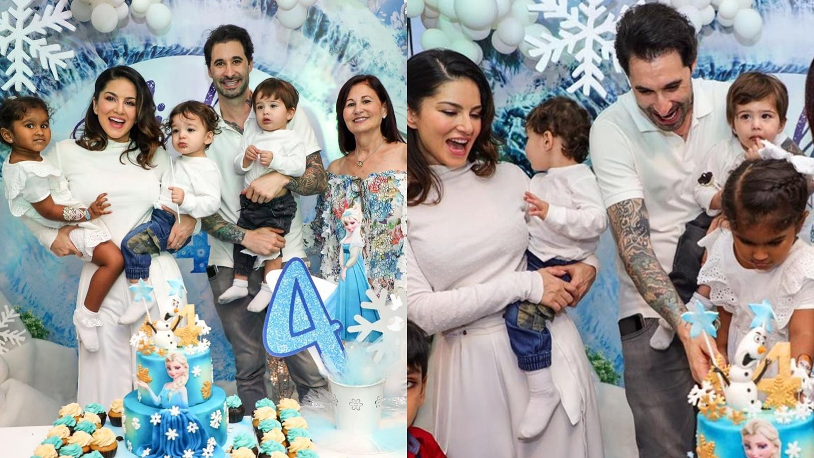 Sunny Leone and husband Daniel Weber surprise daughter Nisha Kaur Weber with 'frozen' themed birthday party