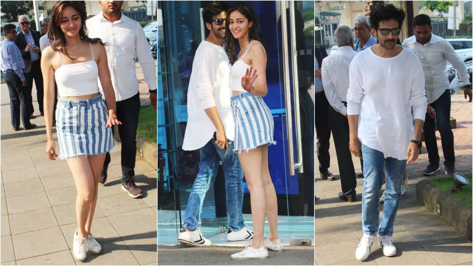 Kartik Aaryan and Ananya Panday keep it cool and basic as they shell out major twinning goals in white and blue casual outfits