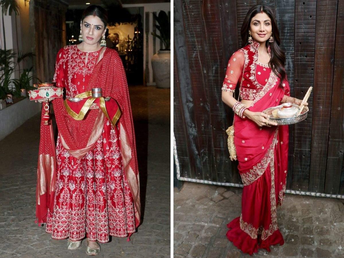 Shilpa Shetty, Raveena Tandon looked stunning in red