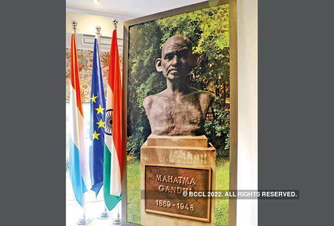A picture of Gandhi's  sculpture in Luxembourg was on display at the event