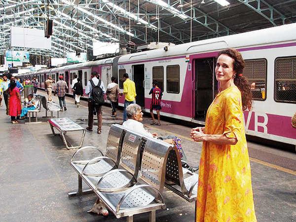 Andie MacDowell at Churchgate station in Mumbai