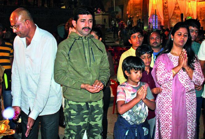 Vineet Singh at the muhurat puja held at Gai Ghat (BCCL/ Arvind Kumar)