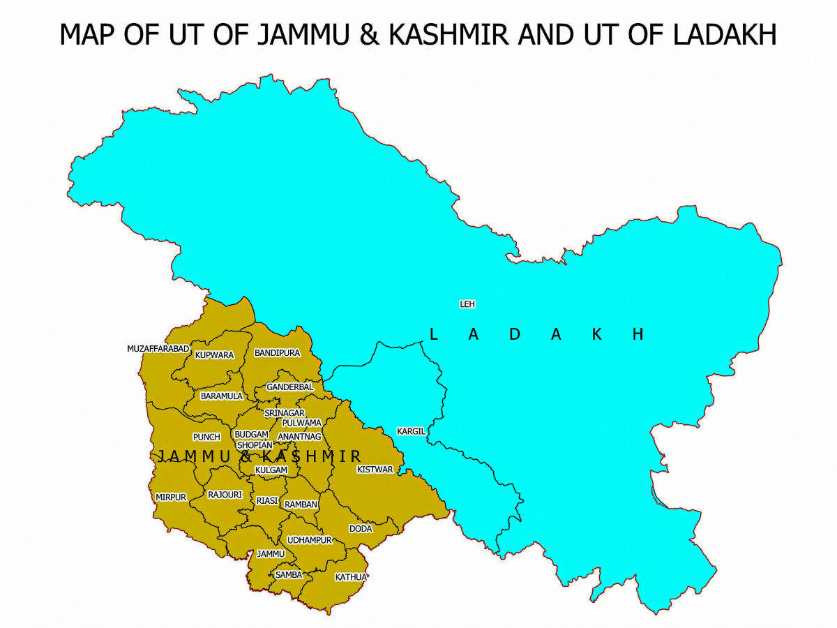 india political map jammu and kashmir Govt Releases New Political Map Of India Showing Uts Of J K india political map jammu and kashmir