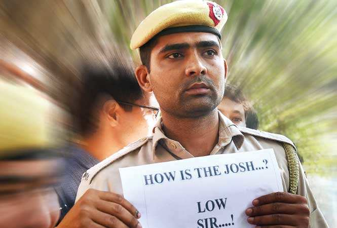 In a case of real life imitating reel, Delhi Police personnel came out on roads in protest against perceived lack of support, albeit with their shirts on and without a Singham leading them