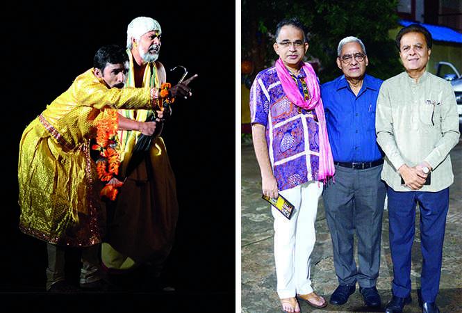 (L) A scene from the play (R)  Pravin Shekhar, Naresh Roy and Subhash Pandey (BCCL/ Pankaj Singh)