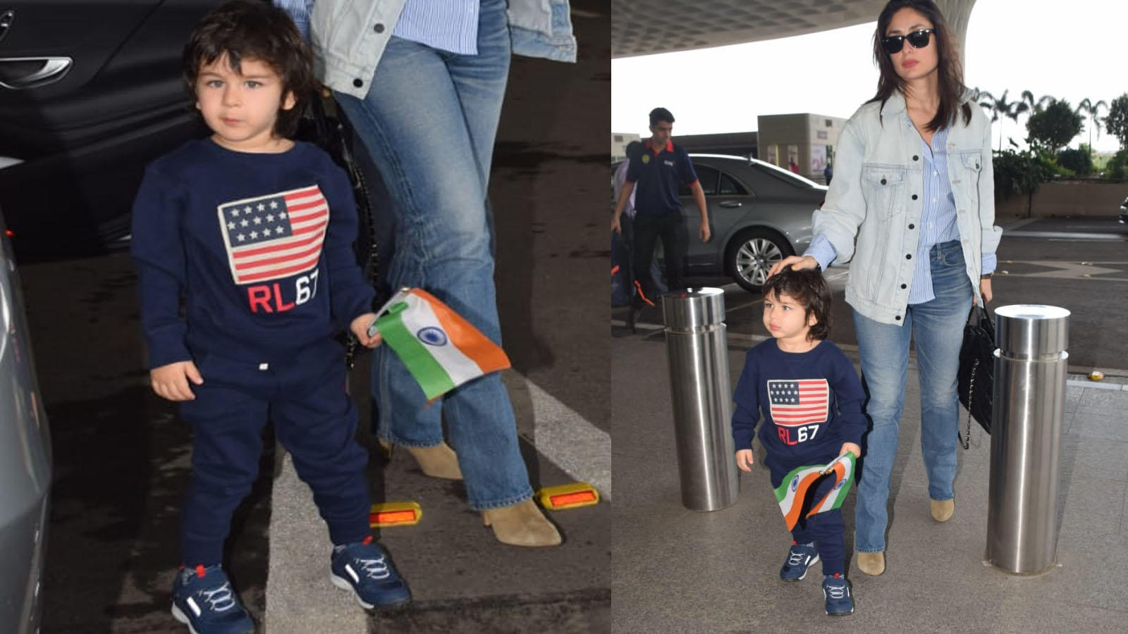Cuteness overload! Taimur Ali Khan waves Indian flag at airport as he gets spotted with mommy Kareena Kapoor Khan