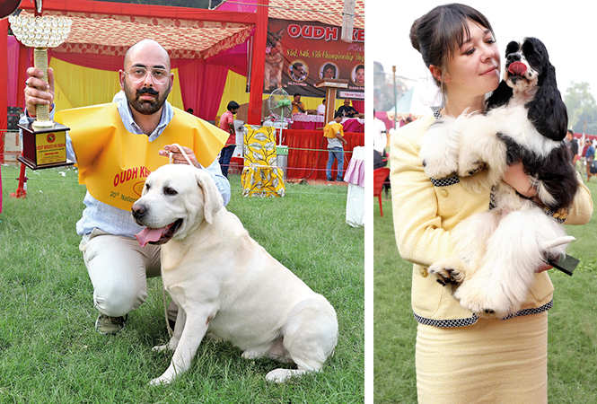 (L) Dinkar Pratap Singh flaunts the trophy won by his lab Luke on day 1 (R) CUDDLESOME: Jini with Vishhna, the American Cocker Spaniel (BCCL/ Aditya Yadav)