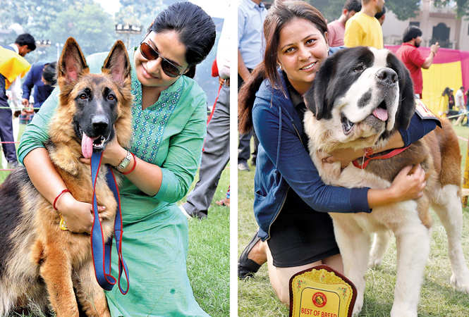 (L) My dog's the best: Dipika Srivastava with Nexa, a German Shepherd (R) Madhuri with her dog Mogli (BCCL/ Aditya Yadav)