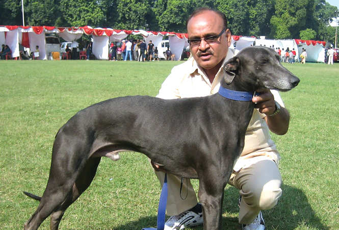 Irshad Khan with his Rampur Hound (BCCL/ Aditya Yadav)