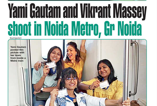 Yami Gautam with the film's team inside a Metro train