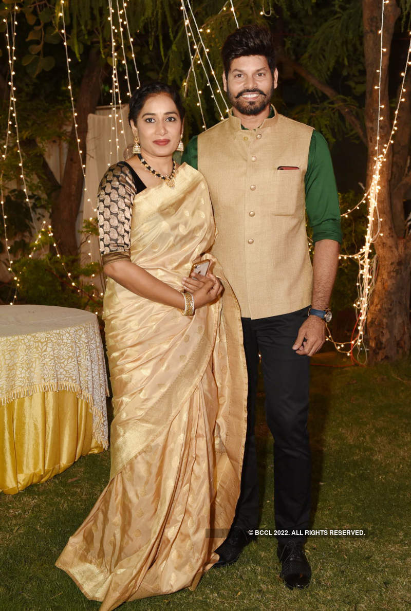 Tollywood actress Archana Shastry and Jagadeesh's starry wedding reception