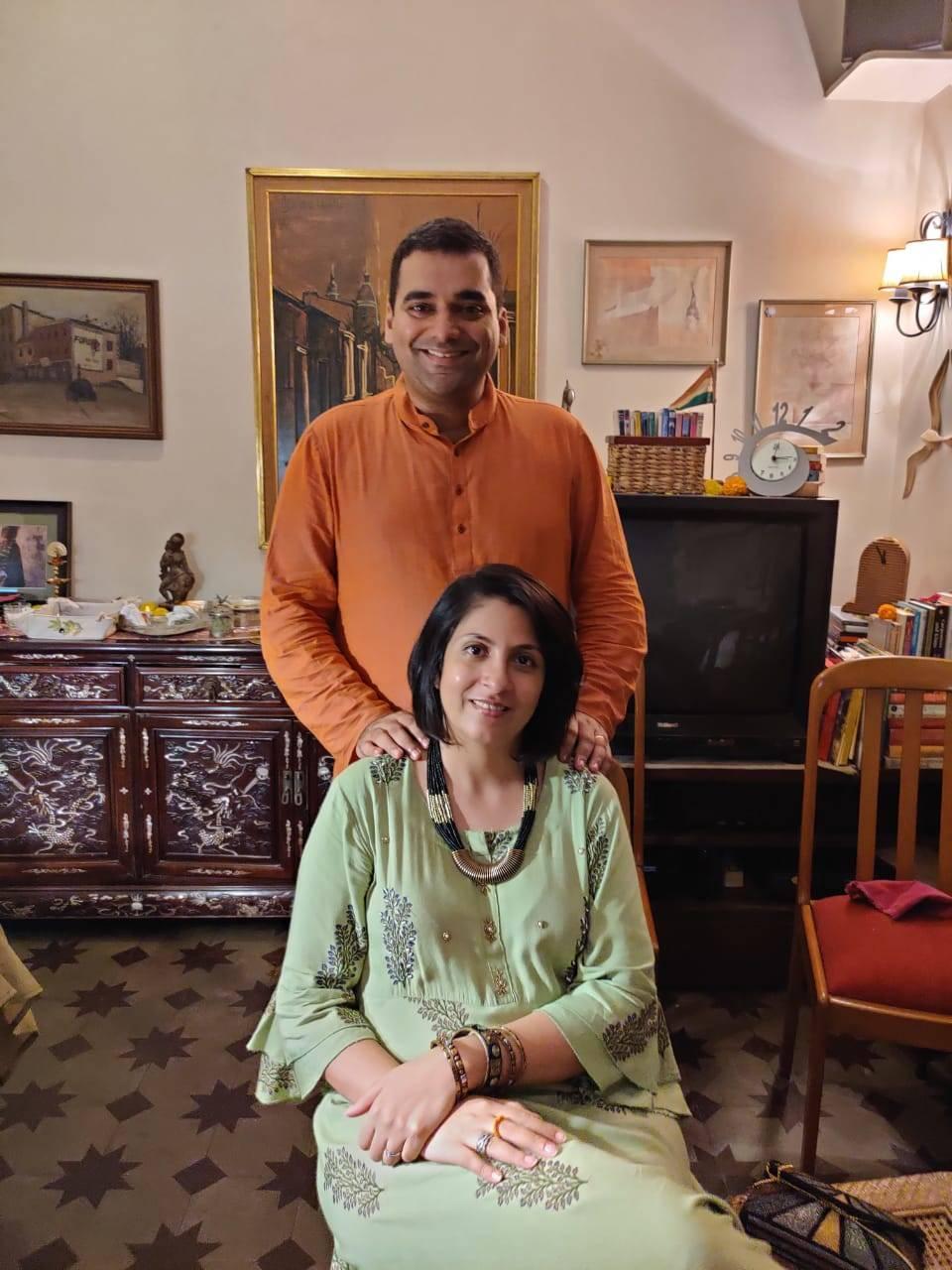 Abhishek Mande Bhot with wife Kermin Bhot
