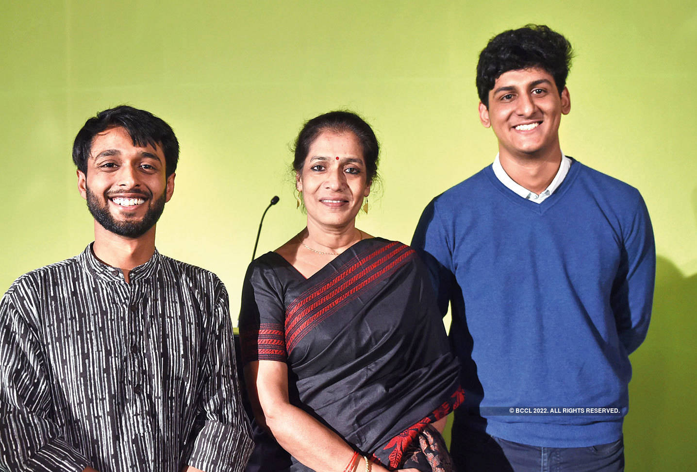 Vibha Chauhan, Principal, Kirori Mal College with participants from the college – Krishtijeet Das (left) and Sawal Choudhary (right)