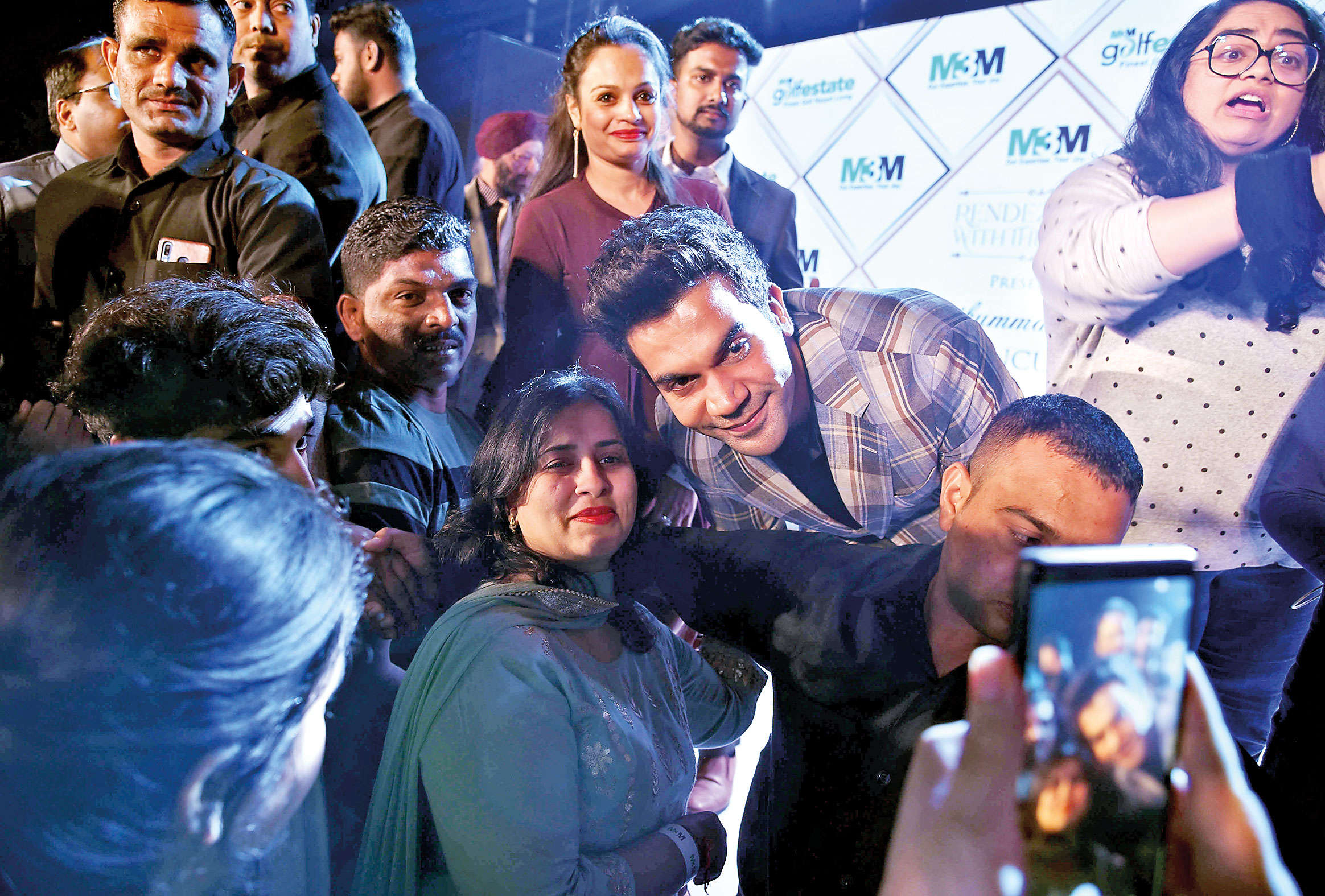"Rajkummar Rao was swarmed for selfies at a recent event in Gurgaon and the ""total Gurgaon boy"" obliged his fans with the widest smile"