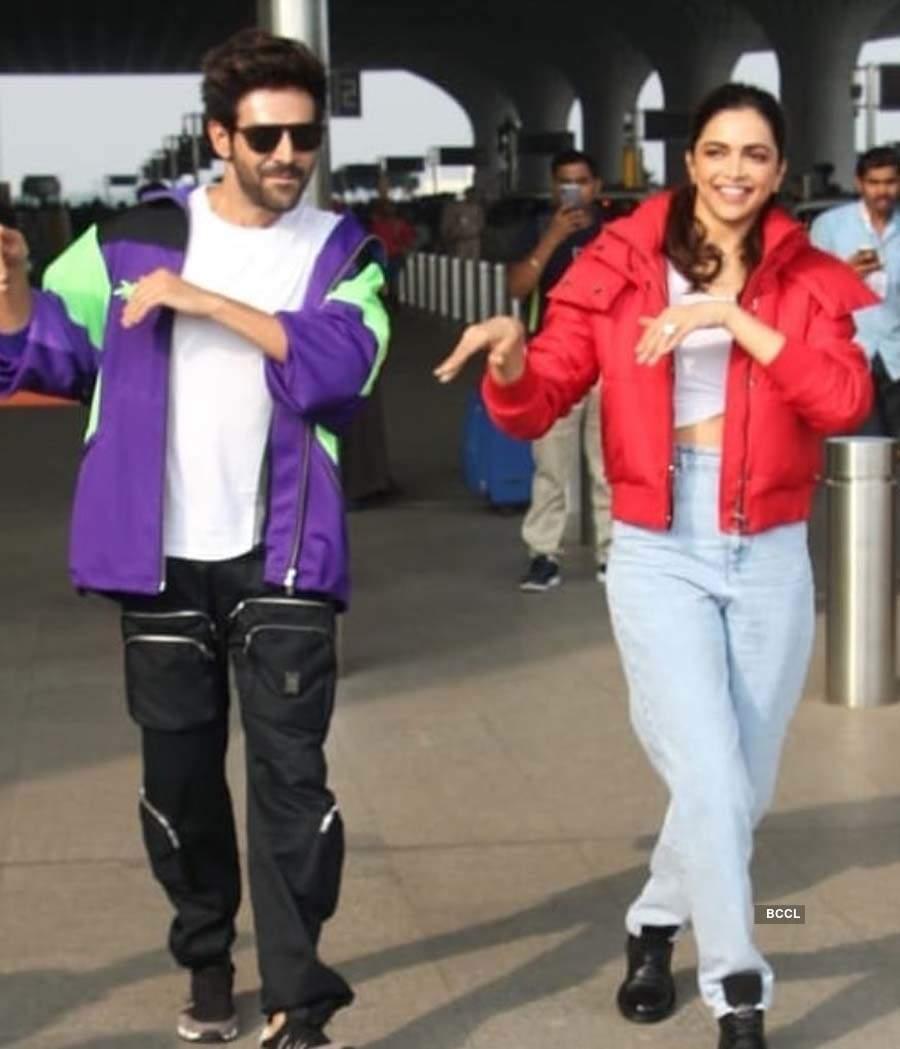 Pictures of Deepika Padukone and Kartik Aaryan dancing at Mumbai airport get fans excited