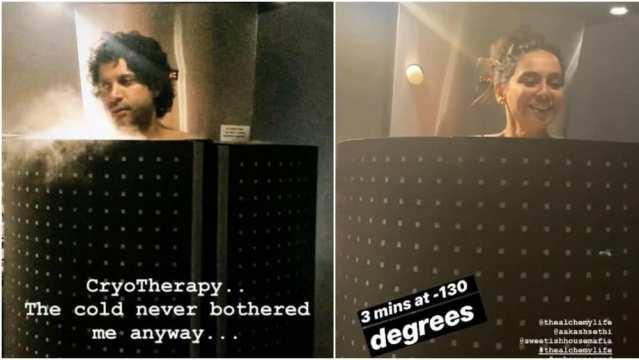 Farhan-Shibani cryotherapy Instagram