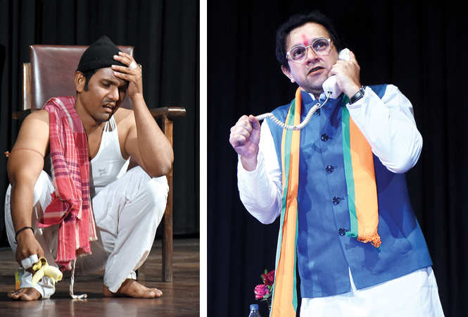 (L) A scene from the play (R) Imran Khan in a scene from the play (BCCL/ Vishnu Jaiswal)