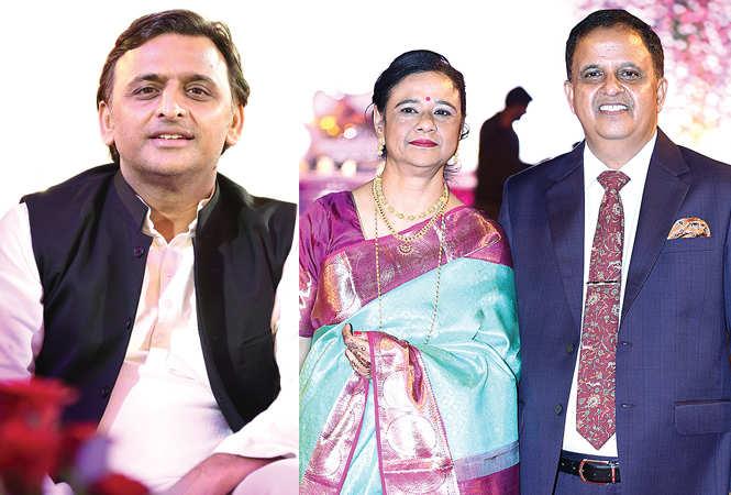(L) Akhilesh Yadav (R) Seema Saxena and Kumar Keshav (BCCL/ Aditya Yadav)