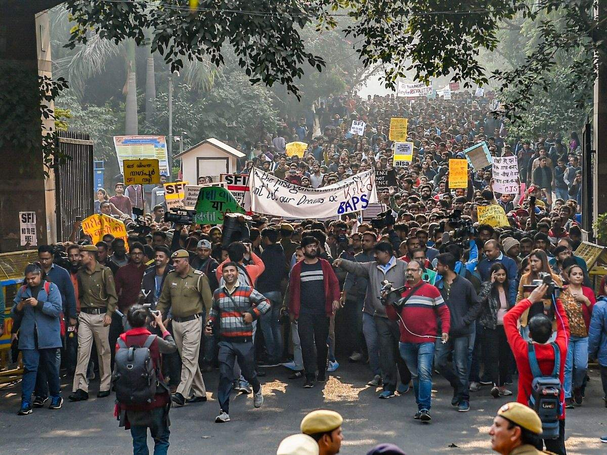Image result for photo of Lathicharge On JNU Students At Protest March In Delhi, Many Detained
