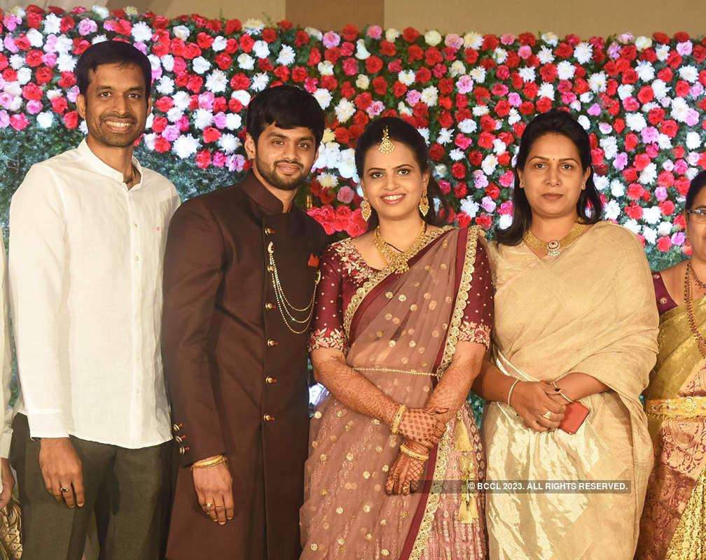 Saina Nehwal & other badminton players at Sai Praneeth's wedding reception