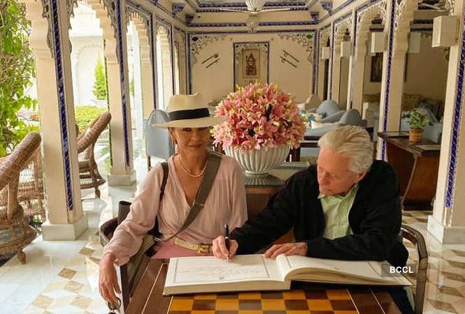 Catherine Zeta-Jones and Michael Douglas at Taj Lake Palace in Udaipur
