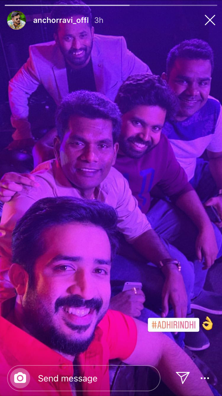 Ravi shares a pic from the sets of Adhirindi