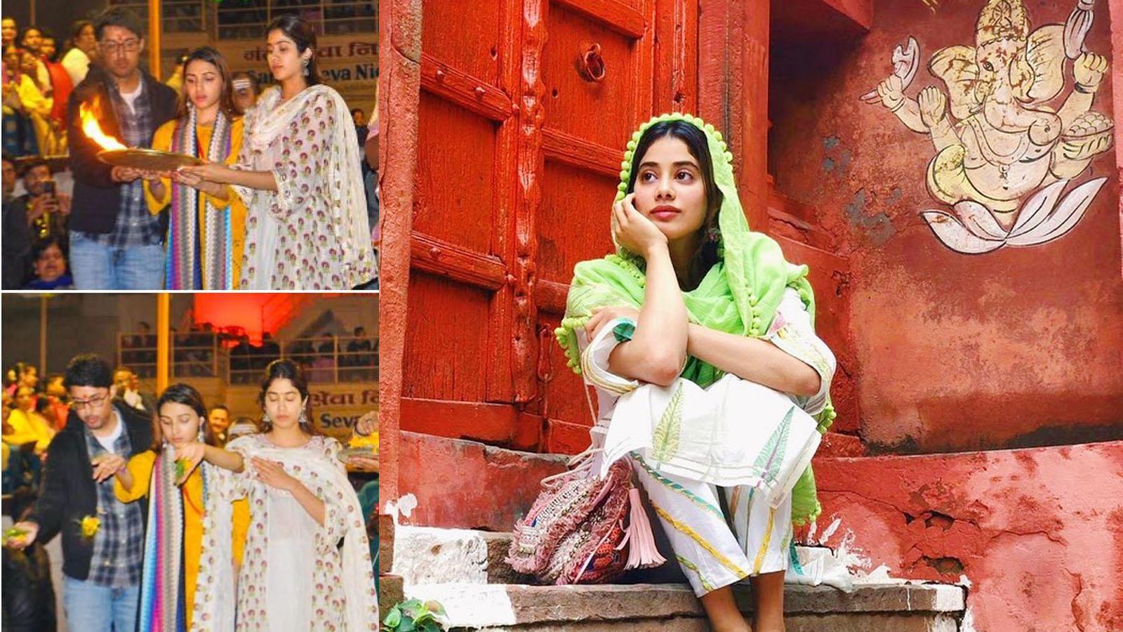 Janhvi Kapoor gives a sneak-peak into her Varanasi trip, performs Ganga aarti with friends