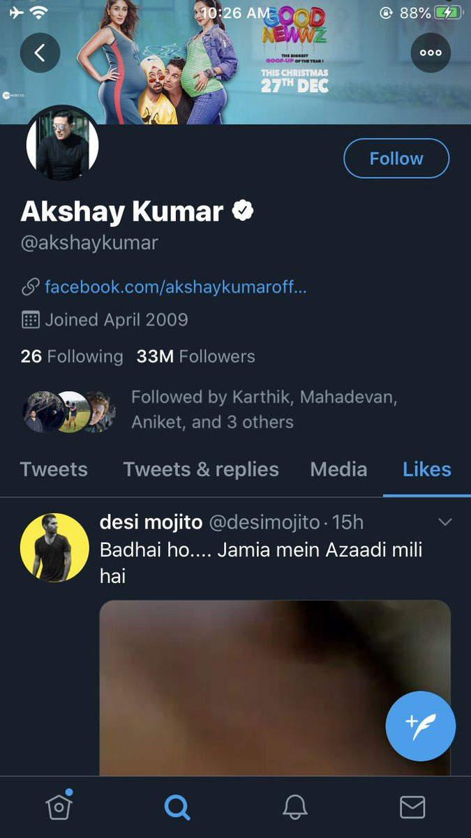 JamiaProtest Akshay Kumar calls his Like on video a