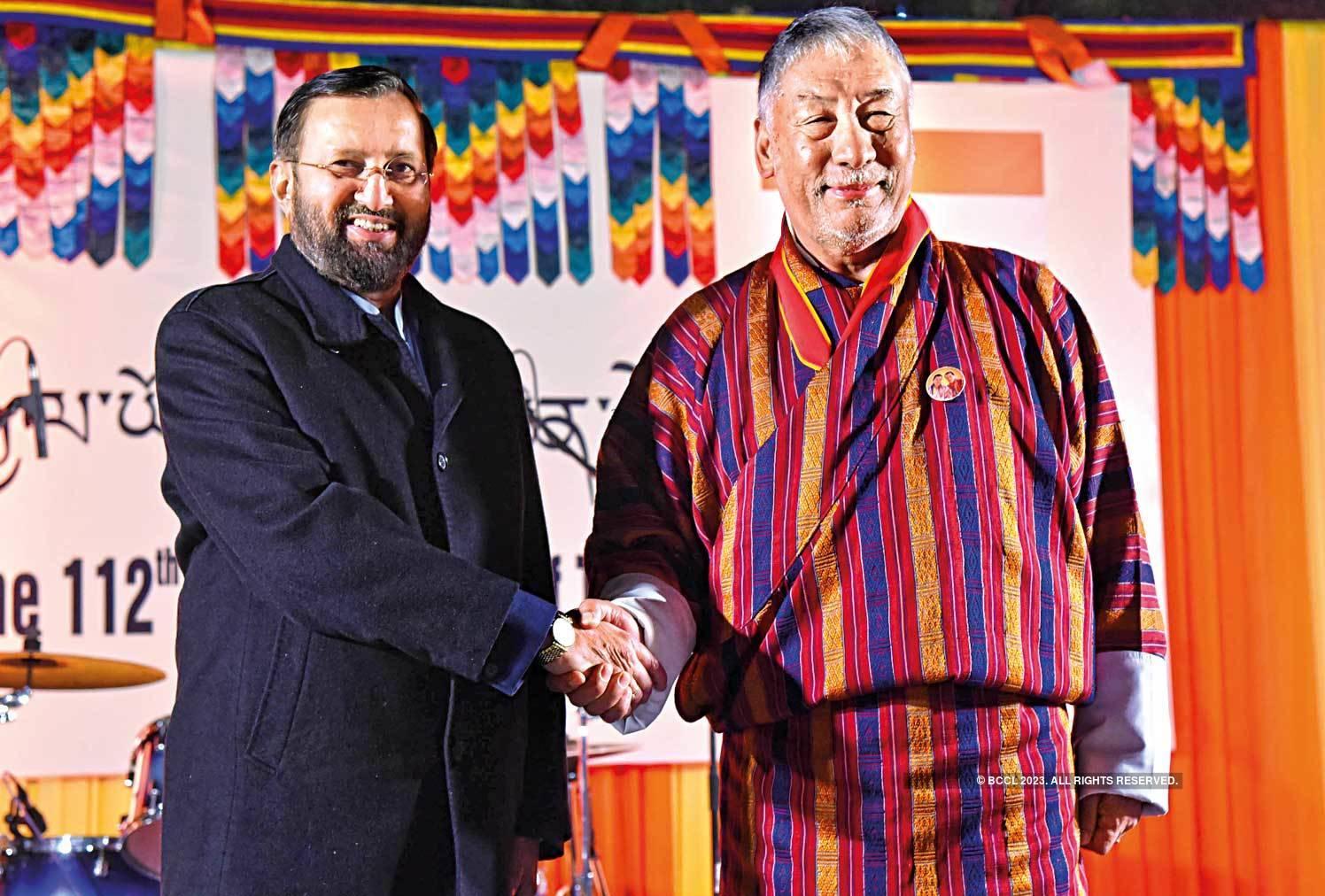 Prakash Javadekar with Major General Vetsop Namgyel,  Ambassador, Bhutan