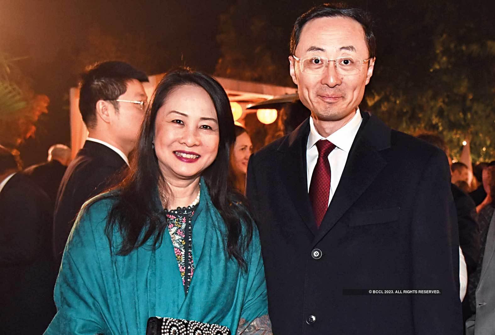 All smiles: Sun Weidong, Ambassador, China, with his wife Bao Jiqing