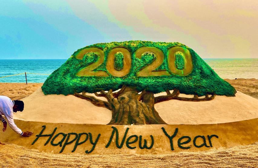 2020- sudarshant Patnaik sand art on new year