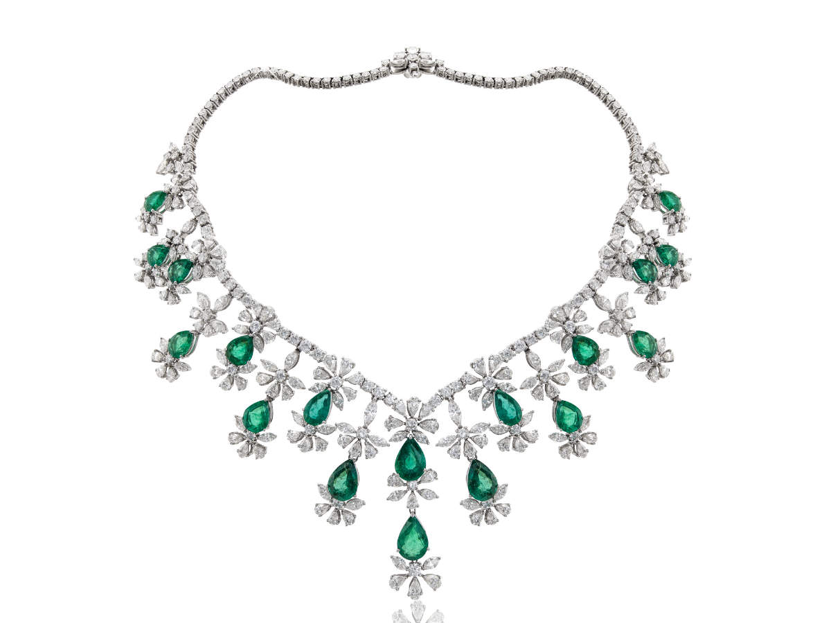 Emerald and diamond bridal necklace by Mirari