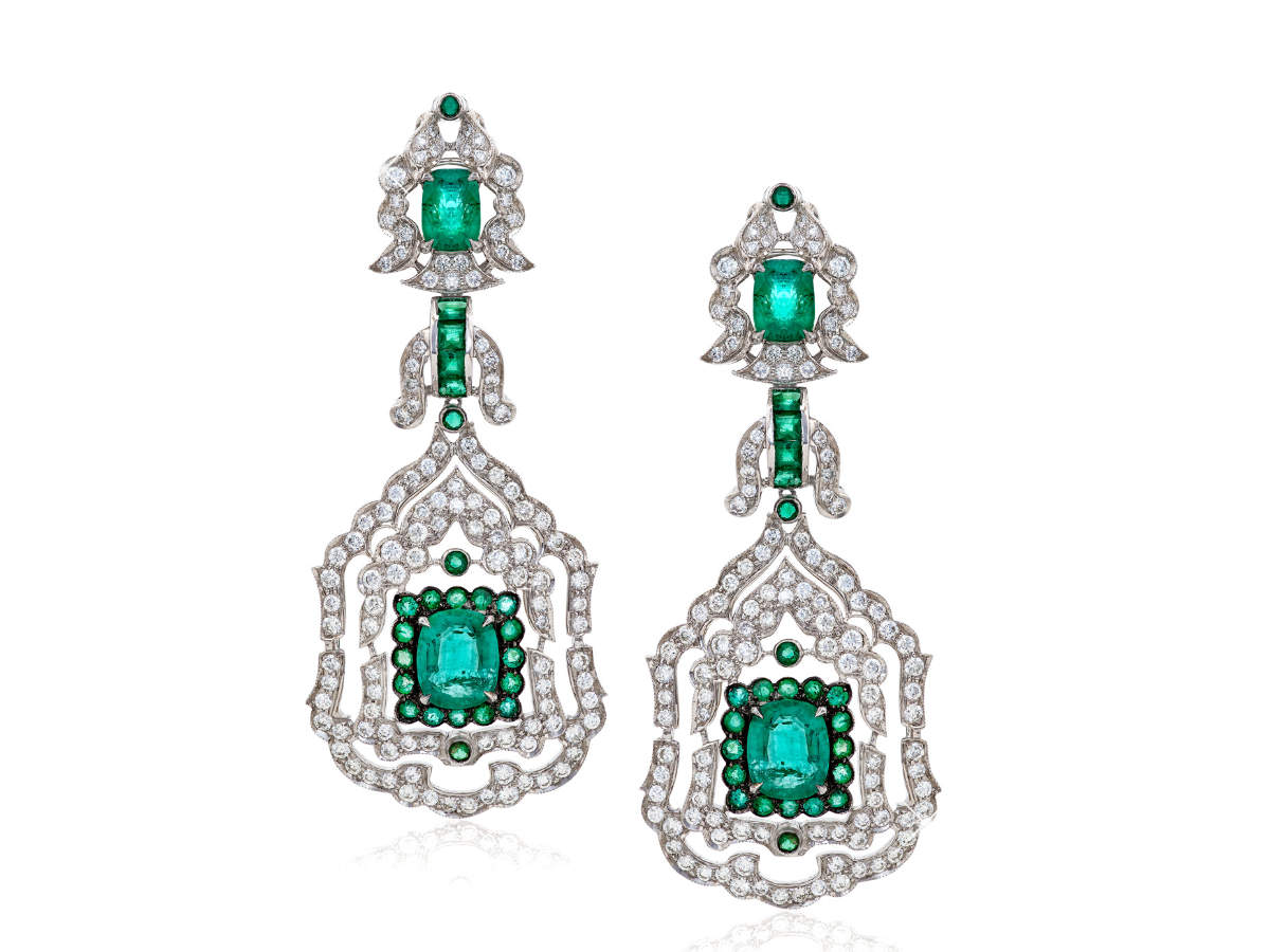 Emerald and diamond earrings by Mirari