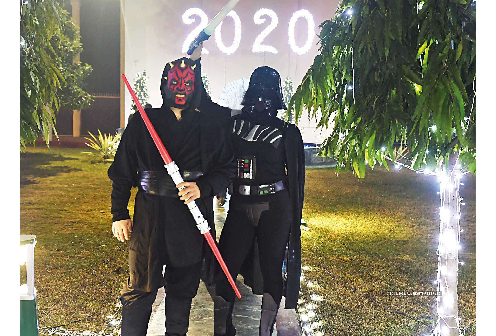 Alexander Feoktistov, Councellor, Russian embassy, and his wife  Ksenia Feoktistova dressed as Star Wars' Darth Vader and Darth Maul