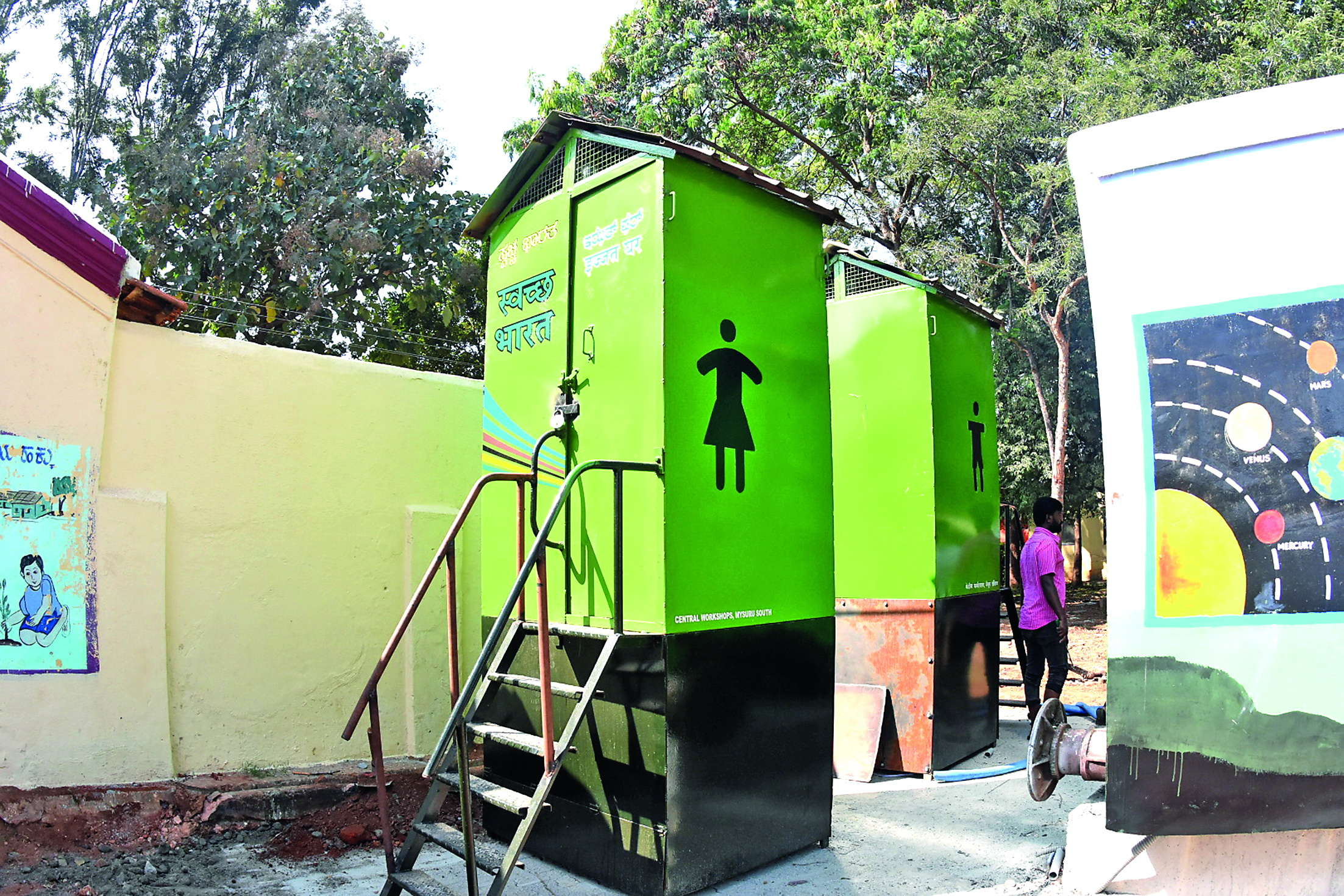 The makeshift school is equipped with  separate lavatory facilities for boys and girls