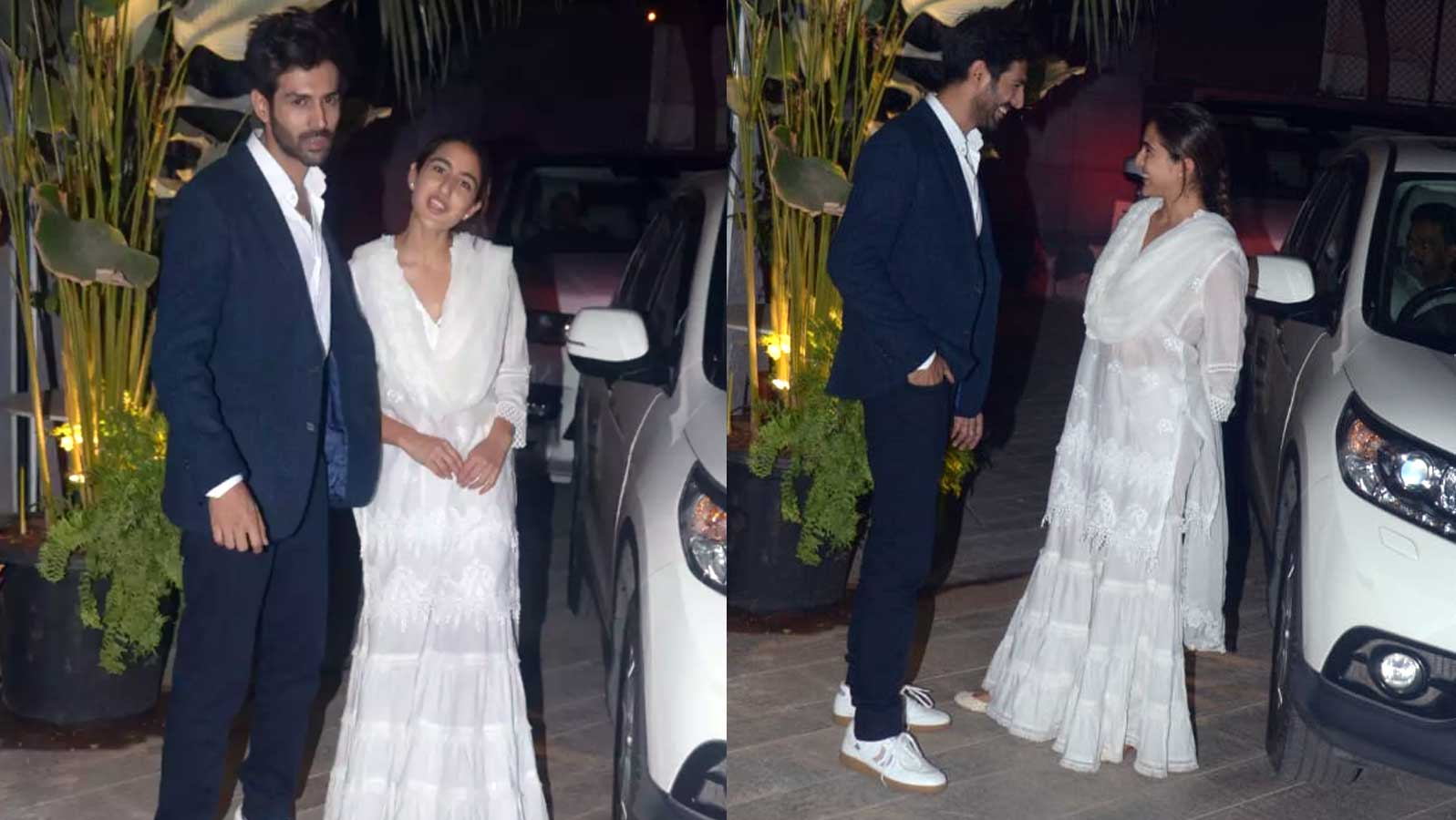 Kartik Aaryan and Sara Ali Khan can't take their eyes off each other as they pose together for paparazzi