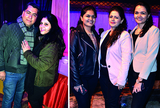 (L) Ashu and Rupali (R) Ishita Dhawan, Pooja Dhawan and Anshika Dhawan (BCCL/ IB Singh)