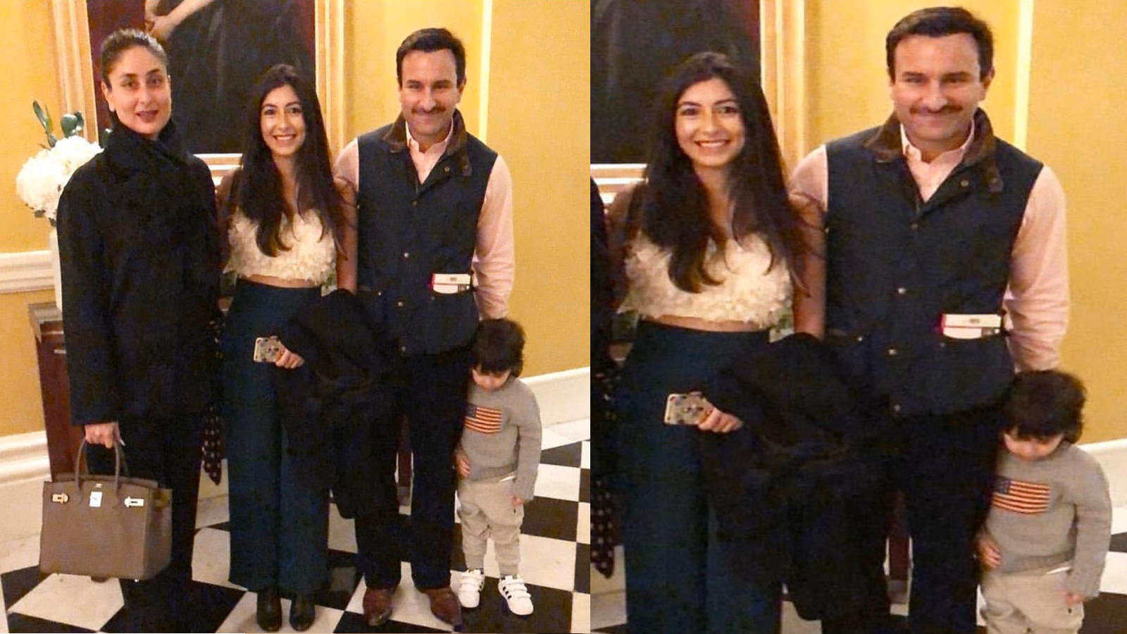 This unseen picture of Saif Ali Khan-Kareena Kapoor Khan and Taimur posing with a fan in London is too cute