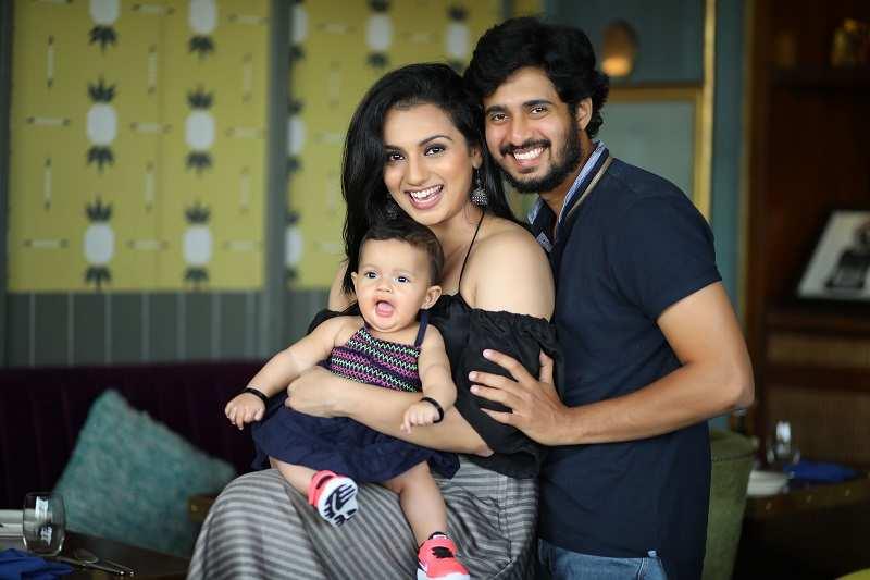 Sruthi Hariharan with husband Raam Kumar and their daughter Janaki