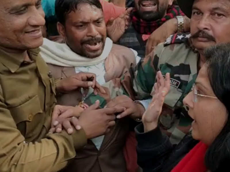 Image result for lady officer slaps bjp worker