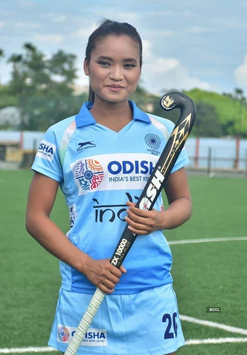 Pictures of Indian hockey player Lalremsiami, the rising star of the year