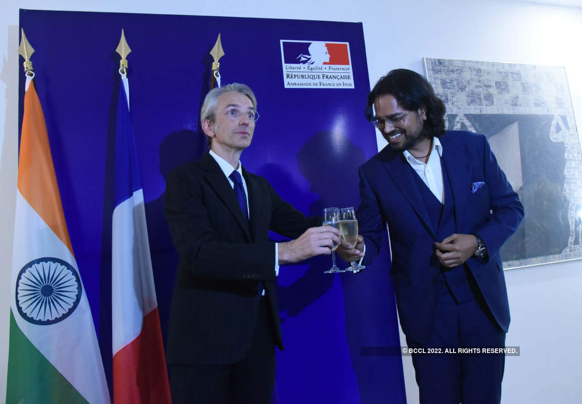 French ambassador Emmanuel Lenain hosts a reception for designer Rahul Mishra