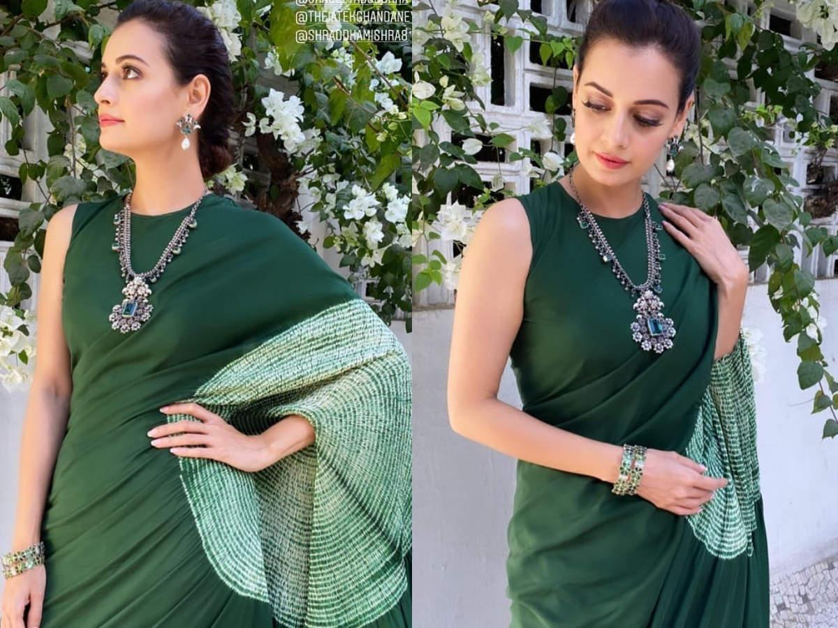 Dia Mirza green saree
