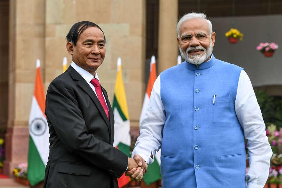 In pics: Myanmar President U Win Myint accorded ceremonial welcome at Rashtrapati Bhavan